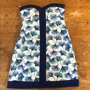 Navy, green, white Lilly Pulitzer strapless dress